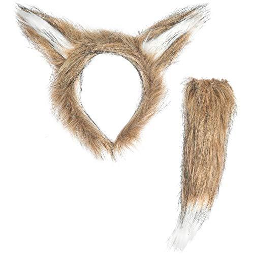 Amakando Set Accesorio Felpa con Orejas de Lobo y Cola - Gris-Marrn - Lindo Accesorio para Disfraz de Perro - Ideal para Halloween y Fiestas temticas