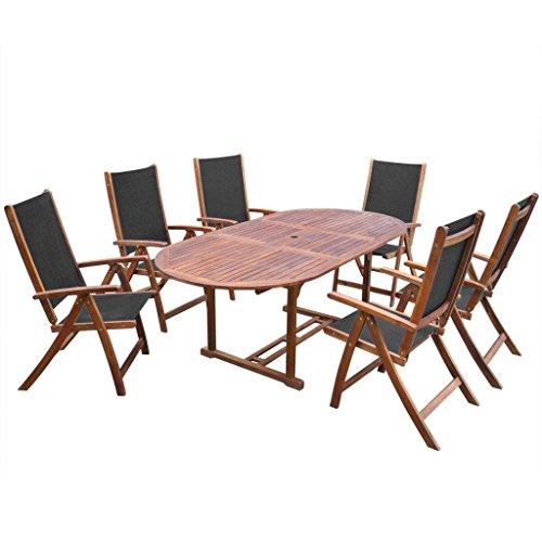 Lingjiushopping salle à manger de jard ¨ ªn 7 pièces en bois acacia table pleglabe extensible dimensions : 57,5 x 72 x 109 cm (largeur x profondeur x hauteur)
