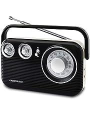 ADESSO(アデッソ) ラジオ AM FM レトロ デザイン ブラック RA-601BK