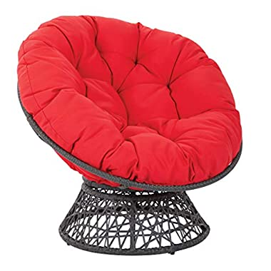 OSP Home Furnishings Wicker Papasan Chair with 360-Degree Swivel, Grey Frame with Red Cushion