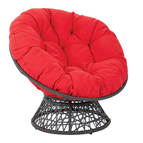 OSP Home Furnishings Papasan Chair with 360-degree Swivel, Red cushion and Black Frame