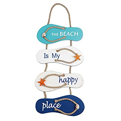 Nautical Beach Flip Flop Decoration Flip Flop Wall Ornament Hanging Wooden Slippers Decoration, Wall Decor Door Hanging Ornament Beach Theme Home Decoration, White, Blue(21 x 8.7 x 0.4 Inches)