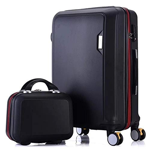 Mdsfe Juego de Maletas ABS + PC Maleta de Viaje con Ruedas Maleta de Equipaje de Mano Maleta de Cabina Bolso de Mujer Rueda giratoria de Equipaje rodante - Juego Negro, 20'
