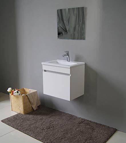STARBATH PLUS Arredo Bagno Mobile Bagno Sospeso MDF Lavabo Resina Specchio (Bianco, 50 x 35 cm)