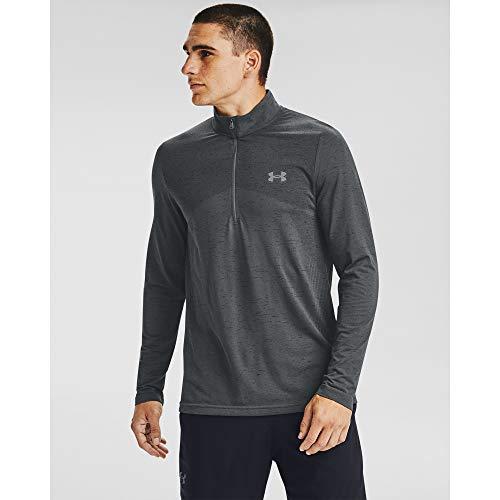 Under Armour Men's Seamless Workout 1/2 Zip T-shirt , Pitch Gray (012)/Mod Gray , Medium