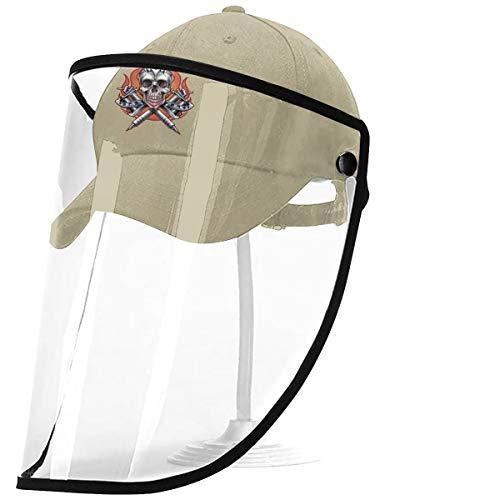 Kawahata Gesichtsschutz Baseballkappe Totenkopf Tattoo Hut Visier PVC klar Anti-Spucken staubdicht Abdeckung Sicherheit Gr. Einheitsgröße, natur