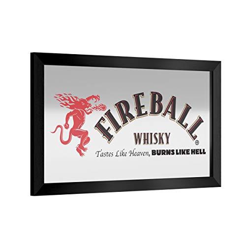 Trademark Global Framed Bar Mirror- Fireball, Glass Beer Sign, Ready-to-Hang Black Frame for Pub, Game Room, Garage or Man Cave