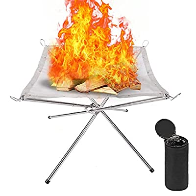 Outdoor Fire Pit 22inch Upgraded Fireplace Portable Fire Bowl with Carrying Bag Rollable Stainless Steel Charcoal Mesh and Folding Stands? Wood Burning Firepit for Picnic Bonfire Camping Garden from TYUK