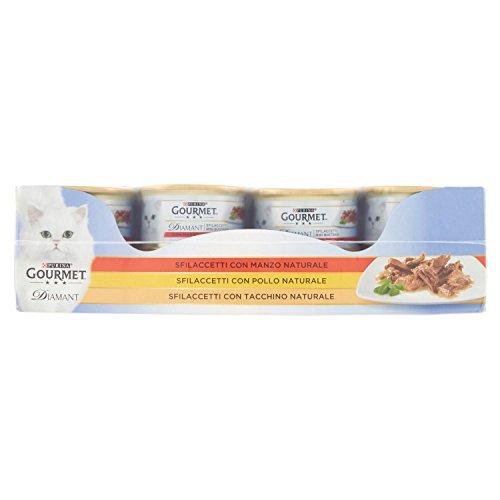 Gourmet Diamant Gatto Vassoio Assortito Sfilaccetti con Pollo, Manzo, Tacchino, Confezione da 24 Pezzi x 85 g