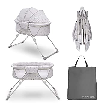 Delta Children EZ Fold Ultra Compact Travel Bedside Bassinet - Folding Portable Crib with Removable Canopy Inner Circle