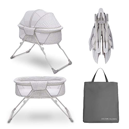 Delta Children EZ Fold Ultra Compact Travel Bedside Bassinet - Folding Portable Crib with Removable Canopy, Inner Circle