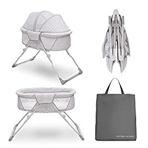 Delta Children EZ Fold Ultra Compact Travel Bedside Bassinet – Folding Portable Crib with Removable Canopy, Inner Circle