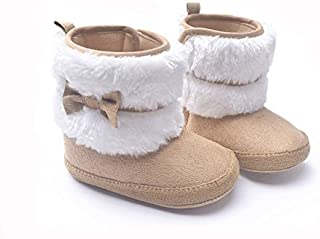 LIVEBOX Baby Girls' Premium Soft Sole Bow Anti-Slip Mid Calf Warm Winter Infant Prewalker Toddler Snow Boots (M: 6~12 Months, Khaki) …