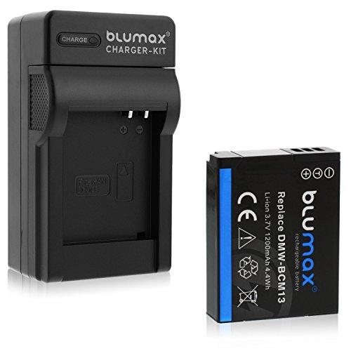 Blumax Akku ersetzt Panasonic DMW-BCM13 / DMW-BCM13-E 1200mAh + Ladegerät für DMW-BCM13 / DMW-BCM13-E | passend zu Lumix DMC Reihe TZ40-TZ41-TZ55-TZ56-TZ58-TZ60-TZ61-TZ70-TZ71 | ZS30-ZS40 |TS5 | FT5