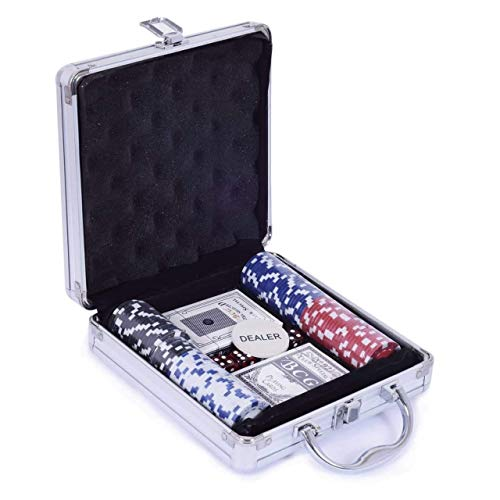 Bhabha Sales® 100 Pcs Casino Style Poker Chips Set (Without Denomination) in Aluminium Case Poker Game