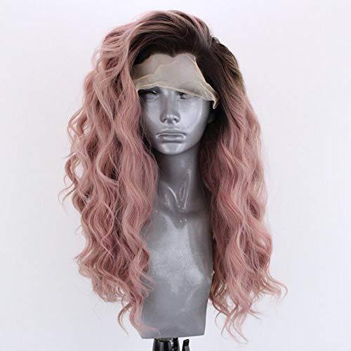 Ltong Zwart Roze Body Wave Synthetische Lace Front Pruik Hittebestendige Vezel Haar 13x3 Lijmloze Lace Pruiken Zijdeel, 20 inches