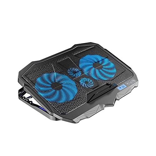 ZUIZUI Pista de enfriamiento del Enfriador de Laptop de Juego, 4 Ventiladores tranquilos y Pantalla LCD, Ajuste de Las Alturas, 2 Puertos USB y luz LED Azul