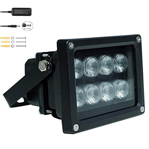 JC IR Illuminator 8-Led Infrared Light Wide Angle 90°with Power Adapter for CCTV and IP Cameras