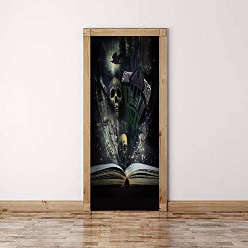 DNFurniture 3D Tür Aufkleber Horror-Buch 77X200CM Zuhause Vision Landschaft Kunst DIY Wandaufkleber Geschenke Europäisch Abziehbilder Festlich PVC Illustrator