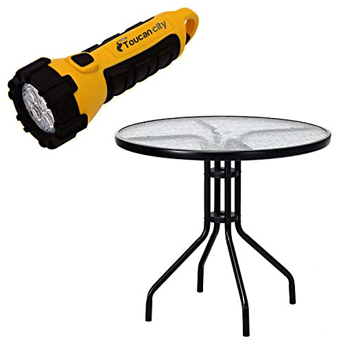 Toucan City LED Flashlight and CASAINC 32 in. Black Round Metal Outdoor Dining Table with Umbrella Hole and Tempered Glass Top WF-OP3685