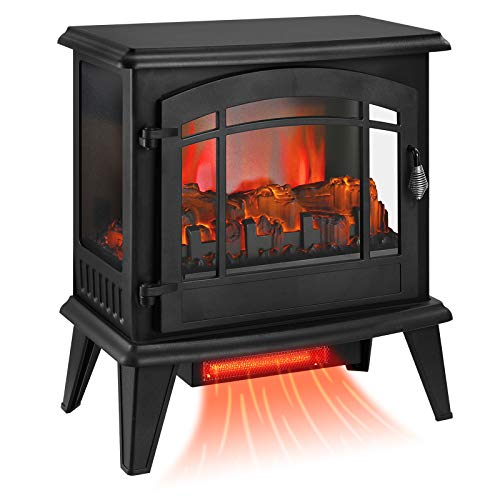 """KINGSO 23"""" Electric Fireplace Stove, Freestanding Fireplace Heater with 3D Realistic Flame and Remote Control, Indoor Electric Stove Heater, CSA Certified Overheating Safety Protection, 1400W"""