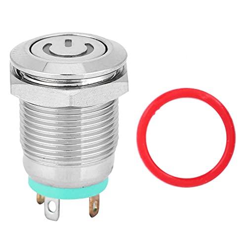 Interruptor de reinicio automático de 12 mm, interruptor de metal, cabeza plana para componentes electrónicos de coche y caravana (3 V)