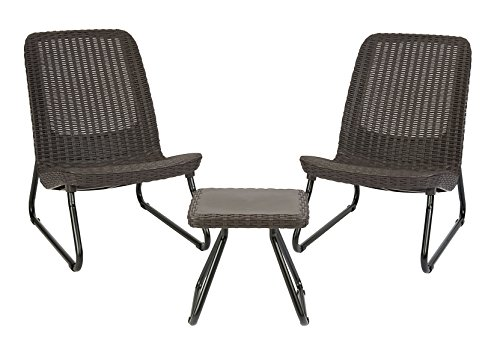 Keter Resin Wicker Patio Furniture Set with Side Table and Outdoor Chairs, Whiskey Brown