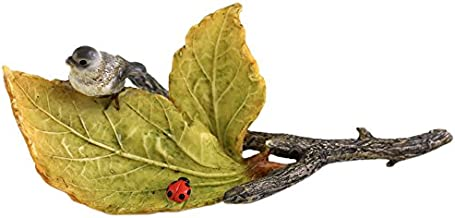 Top Collection Miniature Fairy Garden and Terrarium Little Bird and Ladybug on Leaves, Mini