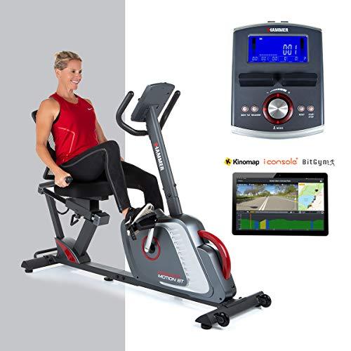 HAMMER Liegeergometer Comfort Motion BT, Komfortables Fitnessfahrrad mit Ergo-Bequemsitz & Rückengesundlehne, Bluetooth & App-Steuerung, 22 Trainingsprogramme, 160 x 52 x 110 cm
