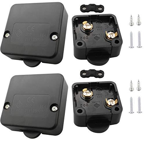 VISSQH 6Pcs 2A 250V Interruptor para Armarios,Empuje de superficie Interruptor de contacto para puerta de mueble Iluminación Interruptor automático la luz de puerta del interruptor del empuje negro