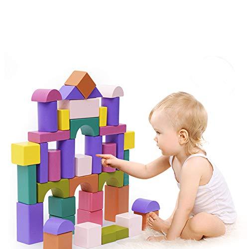 STKASE 81 Bloques De Construcción De Espuma para Niños Juguete Ladrillos Coloridos con Diversas Formas Efecto Madera Bloques de construcción de Madera de los niños determinados