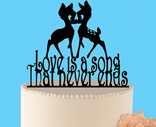 Decoración para tarta de boda de Bambi, decoración para tarta de boda, Bambi y Faline Love es una canción personalizada rústica