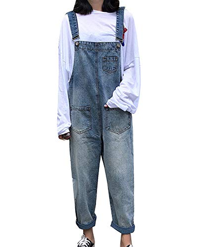 Damen Hohe Taille Jeans Latzhose Overall Boyfriend Denim Baggy Hosen Hellblau XL