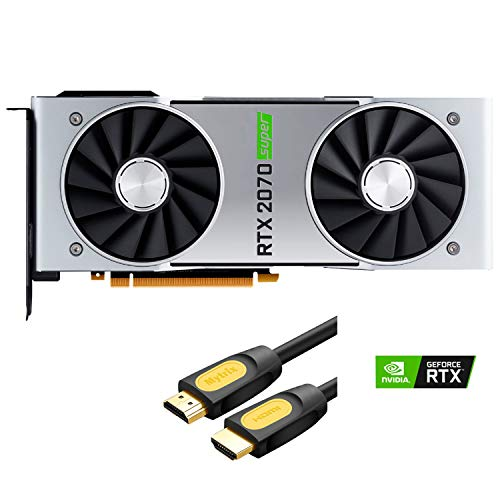 NVIDIA Geforce RTX 2070 Super Founders Edition Graphics Card 8GB GDDR6 PCIE Express 3.0 DisplayPort HDMI DVI-D USB-C 4K UHD Ray Tracing VR Ready with Mytrix HDMI 2.0 Cable