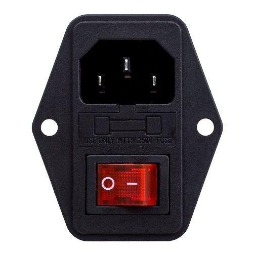 CABLEPELADO Conector alimentacion C14 AC Apto para Fusible Macho 10 A Negro