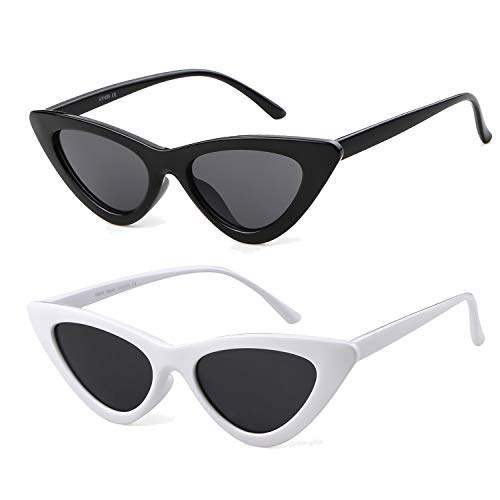 ADEWU Gafas de sol ojo de gato gafas de protección para niñas mujeres, estilo vintage Gafas de sol retro de Kurt Cobain (2pcs - Blanco & negro)