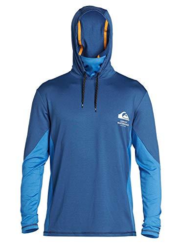 Quiksilver Herren Angler Hooded LS Long Sleeve Rashguard SURF Shirt Rash Guard Hemd, blau, Large