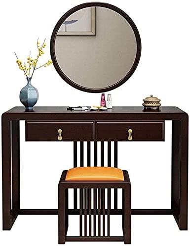 N&O Renovation House Retro-Schminktisch-Set Kosmetik-Schreibtisch-Schminktische mit dekorativem rundem Spiegel und Hocker zur Wandmontage Schminktisch mit 2 Schubladen