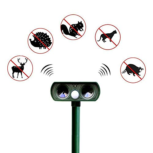 JJIIEE Solar Powered Pet Deterrent,Ultrasonic Cat Repellent,Rabbit Rat Scare with LED Light Waterproof Different Frequency Animal Deterrent Outdoor,for Garden Yard Field Farm