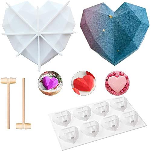 Molde de silicona con forma de corazón de diamante, molde de silicona para hornear, molde de horno, molde para galletas de postre no pegajoso para el hogar, cocina, herramientas de hornear