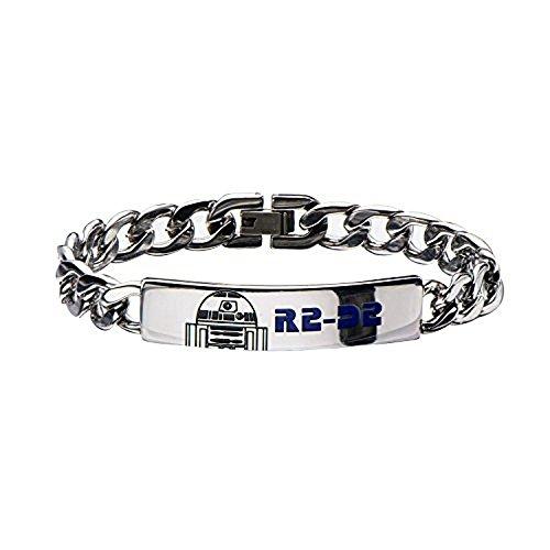 Disney Women's Stainless Steel Star Wars R2D2 ID Curb Chain Bracelet