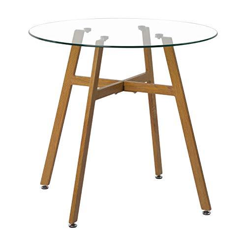H.J WeDoo Mesa de café redonda de cristal, patas de metal acabado...