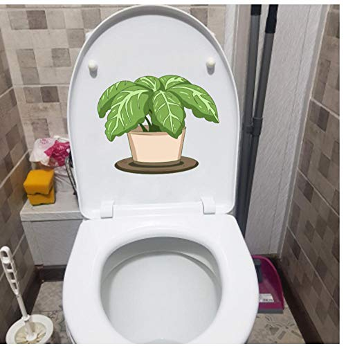 Muurstickers, 3 stuks, afneembaar, doe-het-zelf, wandstickers, planten, cartoon-planten, in bloempot, badkamer, toilet, kinderkamer, decoratie, 23,5 x 19,2 cm
