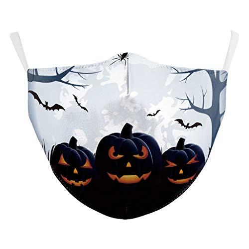 ZuzongYr Halloween Multifunktionstuch Mundschutz Waschbar 1 Stück Erwachsene Mundschutz Winddicht Schutzmaske Wiederverwendbar Mund-Nasen Bedeckung Atmungsaktiv Halstuch