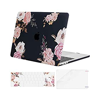 MOSISO Compatible with MacBook Pro 13 inch Case 2016-2020 Release A2338 M1 A2289 A2251 A2159 A1989 A1706 A1708 Plastic Peony Hard Shell Case & Keyboard Cover Skin & Screen Protector Black