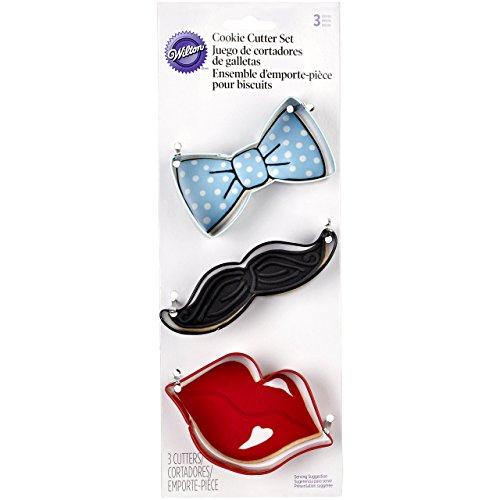 Wilton 3-Piece Cookie Cutters, Tie/Mustache/Lips