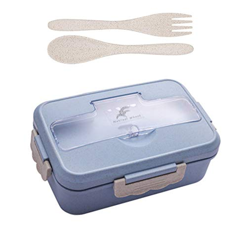 Bento Box, Brotdose Weizenstroh, Lunch Box mit 3 Fächern und Besteck, Mikrowelle und Spülmaschinenfest, für Schule, Arbeit, Picknicks, Reisen(Blau)