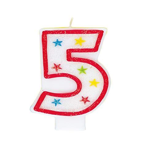 Unique Party - Vela de Cumpleaños Número 5 Reluciente y Decoración de Pastel de Feliz Cumpleaños (37315)