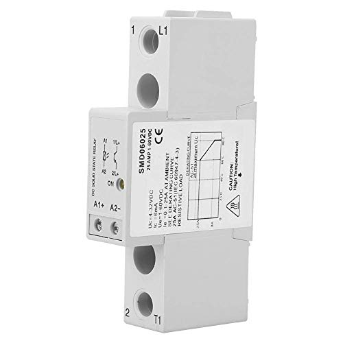 HUAHUA Cicly Timer Relay Módulo de relé, DC Control DC4-32V 1-60V DC monofásico relé de estado sólido riel DIN Delgado Relay for Equipo de calentamiento eléctrico, maquinaria eléctrica (SMD06025) Tabl