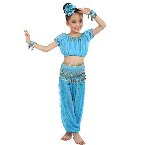Magogo Mädchen Bauchtanz Kostüm Geburtstagsfeier Kostüm, Cosplay Arabische Prinzessin Dancewear Glänzende Karneval Outfit für Kinder (XL, Hellblau)